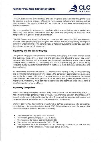 Gender pay gap statement 2017